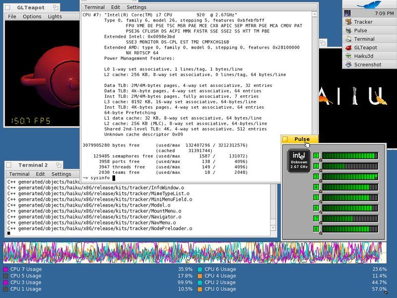 Впервые во Вселенной! Запуск Haiku OS на 8-головой машинке!