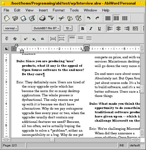 AbiWord, скриншот 1