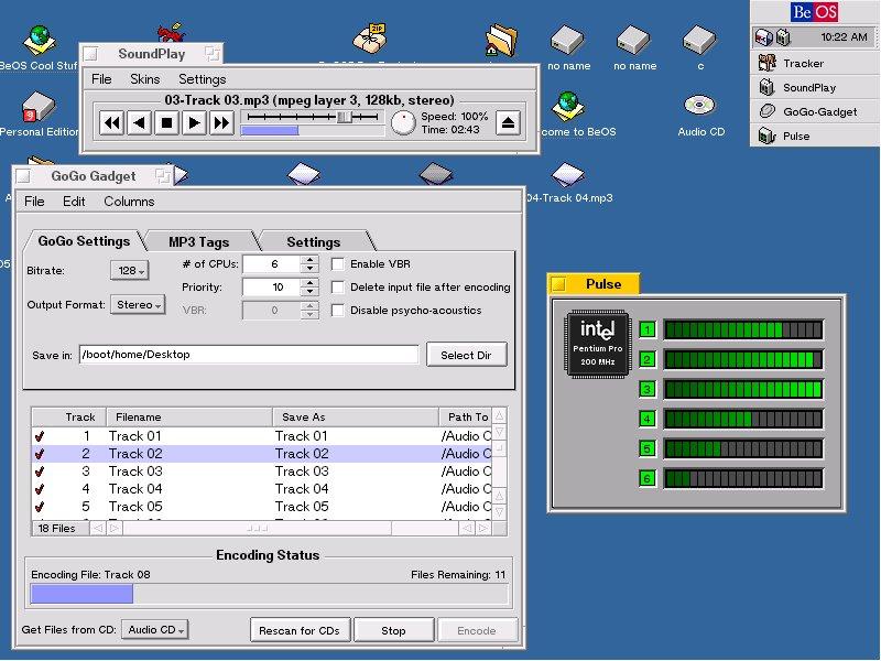 BeOS R5 PE on Six iP Pro 200Mhz