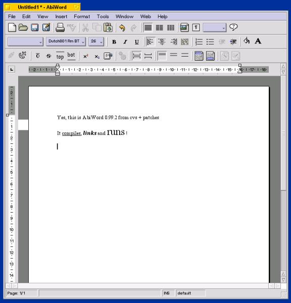 Скриншот AbiWord 0.99.2